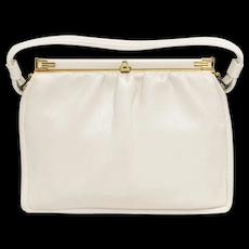 El Bief England Designer Soft White Leather 2 Compartment Accordion Style Women's Clasp Lock Handbag