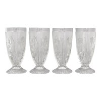 "Set of 4 Jeannette Glass Iris & Herringbone Crystal Glass Embossed Flower 6"" Footed Water Goblet / Iced Tea Drinking Glass Tumbler"