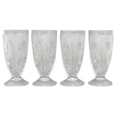 "Set of 4 Jeannette Glass Iris & Herringbone Crystal Glass Embossed Flower 6"" Footed Water Goblet / Iced Tea Drinking Glass Tumbler"