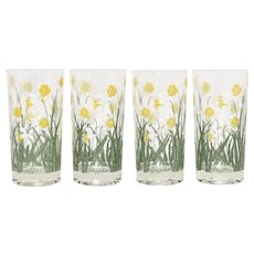 Set of 4 Cera Daffodil Glass Tumbler Drinking Glasses