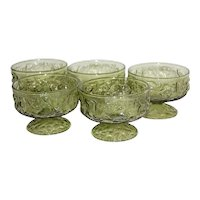 Set of 5 Anchor Hocking Milano Green Crinkle Glass Champagne or Footed Sherbet Dishes