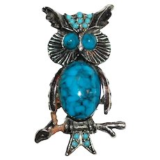 c1970s Large Faux Blue Turquoise Jelly Belly Owl Brooch/Pin