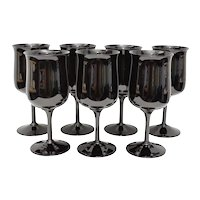 Set of 7 Lenox USA Midnight Mood Opaque Black Glass Wine Glasses or Water Goblets