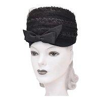 c1960s Kutz Signed Black Raffia Straw Netted Veil Toque Hat