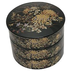 4-Pc Japanese Floral Motif Painted Glazed Black Ceramic Round Stackable Jewelry or Trinket Box