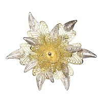 Sterling Silver Gold Wash Ornate Filigree Orchid Flower Brooch / Pin