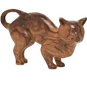 Genuine Tiger Oak or Burl Wood Carved Kitty Cat Art Sculpture Figurine