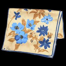 "Vera Designer Signature Ladybug Mark Blue & Khaki Floral Design Scarf - 44"" x 14"""