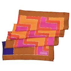"Carlisle Designer Signed Chevron Geometric Design & Vibrant Colors Silk Scarf - 34.75 "" x 34 """