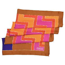 "Carlisle Designer Signed Chevron Geometric Design & Vibrant Colors Silk Scarf - 34.75 "" x 34 """