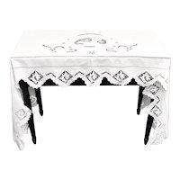 "Antique Victorian Era Woman Horse Rider Equestrian Motif White Linen Scalloped Lace Dresser / Table Topper - 84 "" x 29.5 """