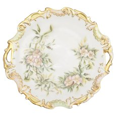 Edwardian Era Limoges France Hand Painted Pink Flower & Gold Gilt Double Handle White Porcelain Platter