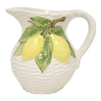 Italy Made White Woven Basket Style w/ Hanging Lemons Ceramic Pottery Pitcher