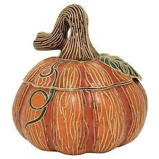 Value Arts Handcrafted Glazed Enamel Over Copper Cloisonné Pumpkin 2Pc Trinket/Candy Jar