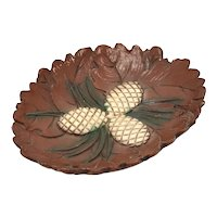 c1940s Pinecone Motif Carved Burwood Maine Souvenir Bowl