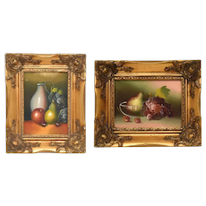 Pair of Still Life Fruit Impressionist Style Oil Paintings in Ornate Gold Gilt Baroque Style Wood Frames