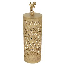 Hollywood Regency Cherub Brushed Gold Metal Filigree Vanity Hairspray Bottle Cover