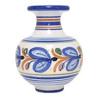 "c1978 Tonala Mexico 5"" High Handcrafted Blue & Orange Stripe Ceramic Pottery Vase"