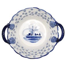 Delft Holland Blue & White Windmill w/ Flower Motif Reticulated Ceramic Double Handled Berry Basket
