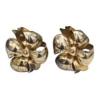 Monet Signed Sterling Silver 3D Puffy Ribbon Bow Clip Earrings ~ Perfect for Christmas!