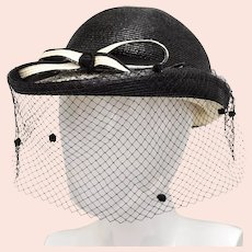 Bellini New York Designer Black & Ivory White Straw Bowler Netted Hat w/ Front Bow