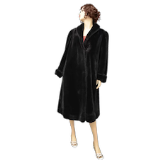J. Percy for Marvin Richards Designer Full Length Black Faux Fur Coat - Size Small