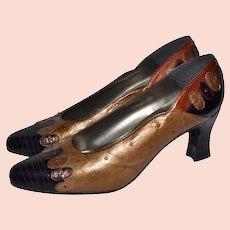 Margaret Jerrold / Margaret J. Designer Gold, Rust Red & Copper Brown Studded Leather Pumps Heels ~ Great for Fall!