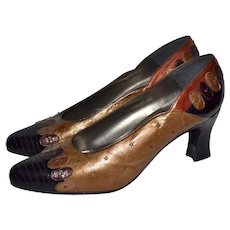 Margaret Jerrold / Margaret J. Designer Gold, Rust Red & Copper Brown Studded Leather Pumps Heels ~ Great for Fall!