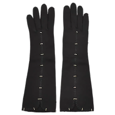 c1950s Elvette Designer Faux White Pearl & Black Braided Trim Opera Length Black Fabric Ladies' Gloves