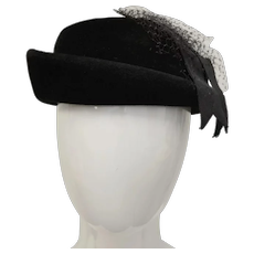 Christine Original Designer Peachbloom Velour Wool Felt Black Netted Cloche Style Hat w/ Faille Ribbon & Hat Pin ~  Size 22