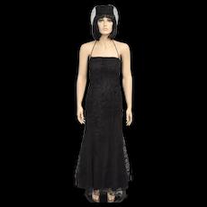 Zum Zum by Niki Livas Designer Black Rose Lace Halter Neck Formal Gown - Size 3/4