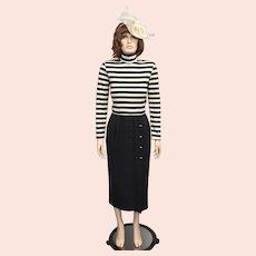 Kwai Designer Ivory White & Gray Horizontal Striped Turtleneck Pleated Skirt Sweater Dress - Size 10