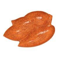 California Pottery 'Cal Style USA' Signed Orange Glaze Divided Ceramic Leaf Dish ~ Nice for Fall!