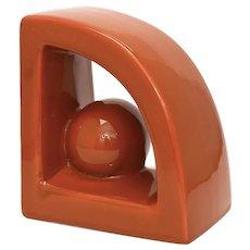 Jaru Pottery Mid-Century Modern Burnt Sienna Orange Glazed Geometric Ball Ceramic Bookend