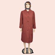 Misty Harbor Designer 'Any Weather Coat' Auburn Red Heavy Wool Dacron Balmacaan Coat - Size 16P