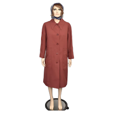 Misty Harbor Designer 'Any Weather Coat' Auburn Red Heavy Wool Dacron Balmacaan Coat - Size 16P