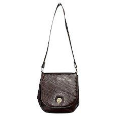 c1970s Chestnut Brown Embossed Alligator Style Genuine Leather Crossbody Purse / Saddle Bag