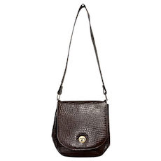 c1970s Chestnut Brown Embossed Alligator Style Genuine Leather Crossbody Purse / Saddle Bag