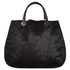 Tanner Designer Large Genuine Black Calf Fur & Double Leather Handle Unstructured Tote Handbag Purse ~ Made in Italy