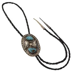 Bennett Signed Sterling Silver Blue Turquoise Nugget Large Oval Southwestern Western Bolo Tie w/ Silver Tips