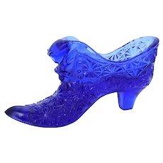 Fenton Cobalt Blue Starburst or Daisy and Button Pattern Cat Head Glass Victorian Style Slipper Shoe