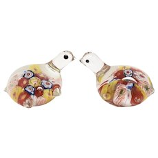 Pair of Murano Millefiori Flower Petite Handblown Fused Art Glass Figural Turtle Sculpture or Paperweights
