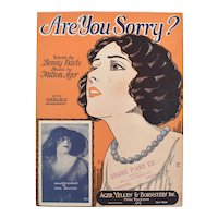 c1925 'Are You Sorry' Sheet Music