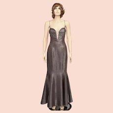 Jessica McClintock Designer Grey-Purple Shimmery Rhinestone Deep-V Trumpet Glam Gown - Size 6