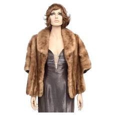 Ivey's Crystal Room Charlotte Pocketed Mink Fur Stole/Cape