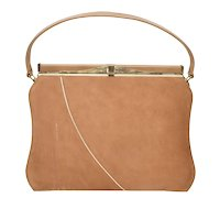 'A Life Stride Handbag' Tan & Gold Simulated Suede Leather Clasp Lock Footed Handbag