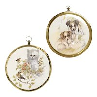 2-Pc Playful Puppies & Curious Kitten Art Print Circular Brass Hanging Frame Wall Decorations