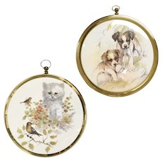 2-Pc Playful Puppies & Curious Kitten Art Print Circular Brass Hanging Frame Wall Decorations