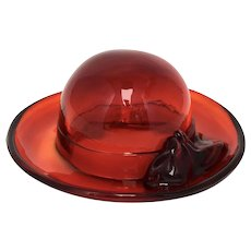 Fenton Ruby Red Ladies Hat Art Glass Sculpture