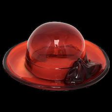 Fenton Ruby Red Ladies Hat Art Glass Sculpture